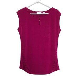 New York and Company Magenta Silky Top Blouse M